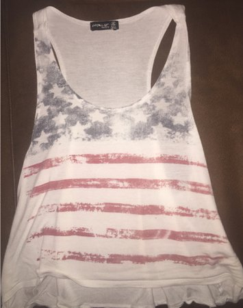 White American Flag Crop Top Tank Top