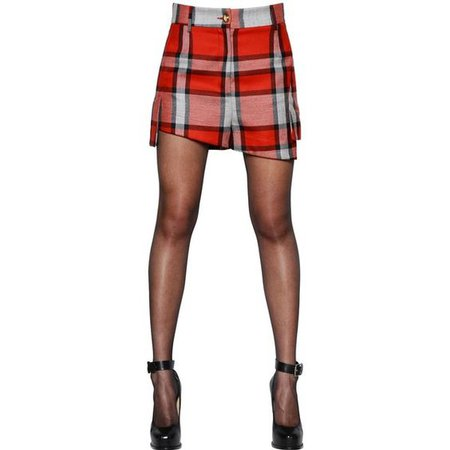 vivienne westwood asymmetrical plaid wool twill short
