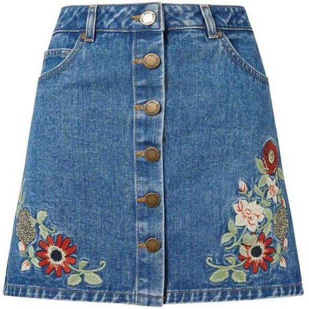 Jean Skirt with Flower Decals