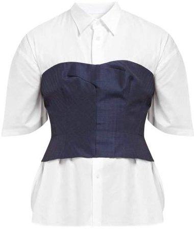 Wool Blend Bustier Cotton Shirt - Womens - Navy