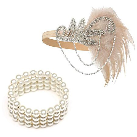 Amazon.com: 1920's Flapper Headbands Great Gatsby Inspired 20s Headpiece Flapper Costume Accessories (Champagne): Clothing