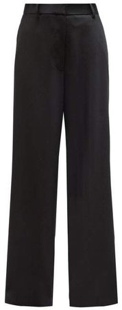 Nick Wide Leg Wool Gabardine Trousers - Womens - Black