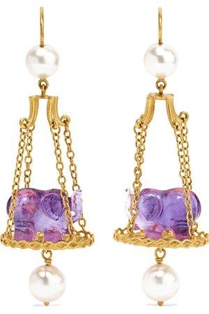 Marie-Hélène de Taillac | Renaissance Elephant 22-karat gold, amethyst and pearl earrings | NET-A-PORTER.COM