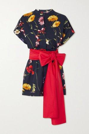 Bow-detailed Floral-print Cotton-blend Poplin Playsuit - Navy