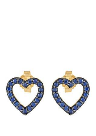 Belk & Co. Created Sapphire Heart Stud Earrings in 10K Gold