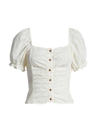 Puffed White Sleeve Top