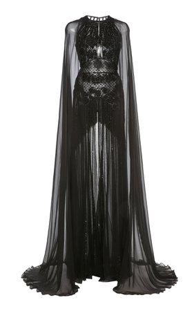 Zuhair Murad, Black Embellished Cape-sleeve Silk-chiffon Gown