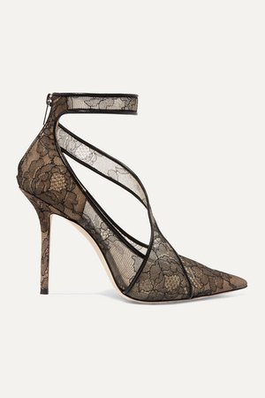 Jimmy Choo | Hadlea 100 leather-trimmed corded lace pumps | NET-A-PORTER.COM