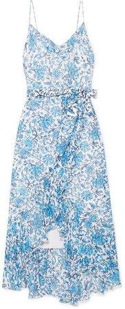 Alice Olivia - Tevi Ruffled Printed Georgette Midi Dress - Blue