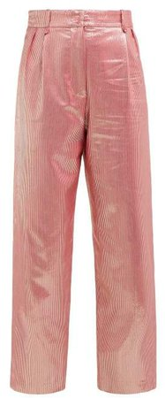 Blazé Milano Blaze Milano - Diva Metallic High Rise Silk Blend Trousers - Womens - Pink Multi
