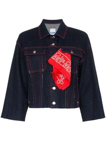 SJYP contrast stitch bandana-detail cropped denim jacket $547 - Buy Online SS19 - Quick Shipping, Price