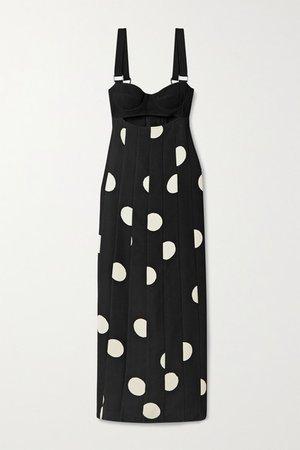 Cutout Polka-dot Crepe Midi Dress - Black