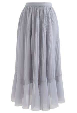 Lightsome Chiffon Pleated Midi Skirt in Grey - Retro, Indie and Unique Fashion