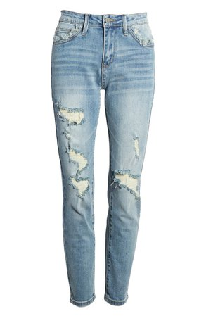 English Factory High Waist Ripped Ankle Skinny Jeans | Nordstrom