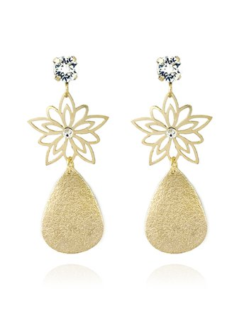 SWAROVSKI EARRINGS GOLD   Zatthu Jewelry