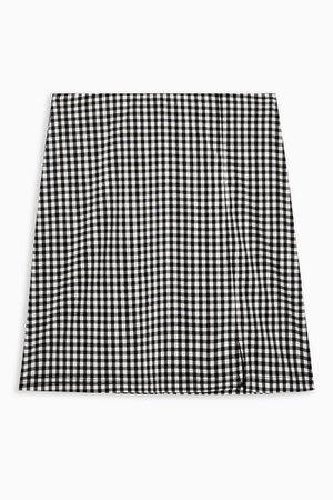 Black And White Stretch Gingham mini Skirt | Topshop