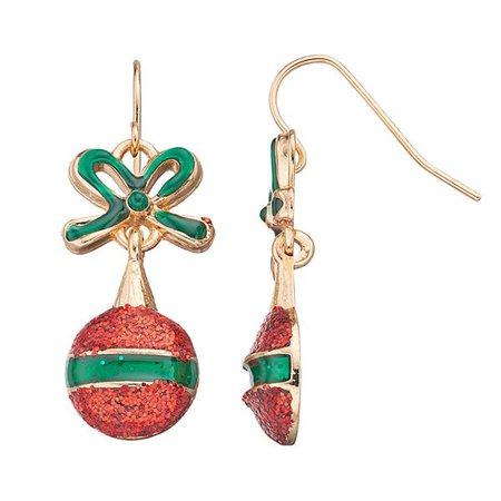 Christmas Glittery Ornament Drop Earrings