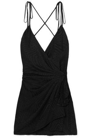 Attico | Satin-jacquard mini wrap dress | NET-A-PORTER.COM