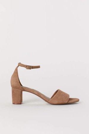 Suede Sandals - Beige