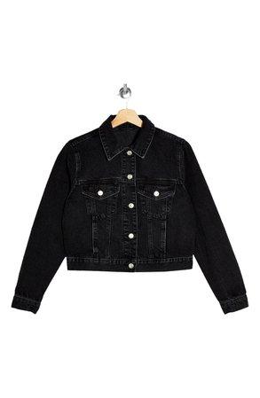 Topshop Tilda Washed Black Denim Jacket | Nordstrom