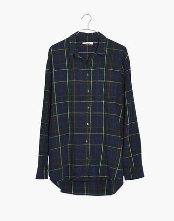 Flannel Oversized Ex-Boyfriend Shirt in Dark Plaid