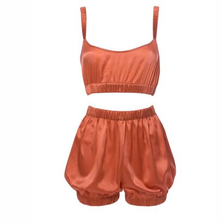 Sundays Are For Ever Silk Sleepwear Set Coral | Roses Are Red | Wolf & Badger