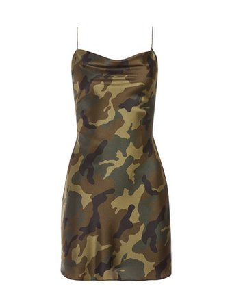 *clipped by @luci-her* HARMONY CAMO DRAPEY SLIP DRESS in CAMO