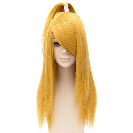 Amazon.com : Nunubee Naruto Deidara Golden Straight Long Wigs Women Party Cosplay Swept Full Hair : Beauty
