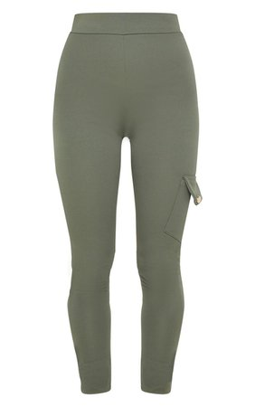 Khaki Scuba Pocket Detail Cargo Pants   PrettyLittleThing USA