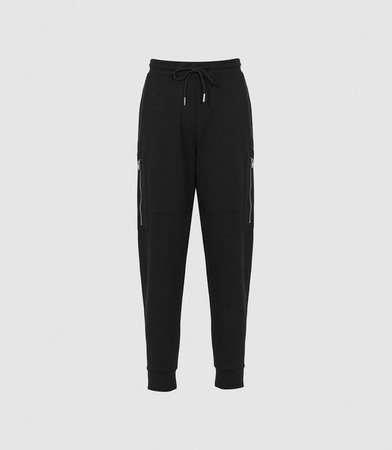 Angelina Black Jersey Joggers – REISS