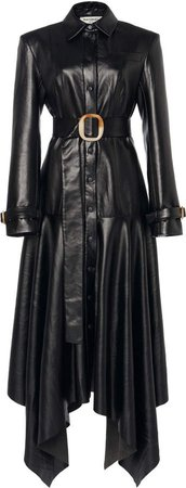 Faux Leather Overcoat Dress