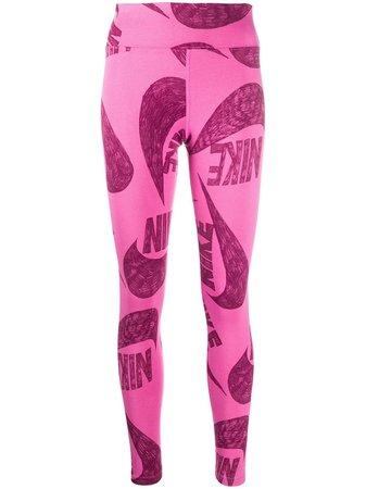Nike Logo Print Leggings - Farfetch