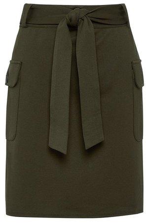 Khaki Utility Ponte Mini Skirt
