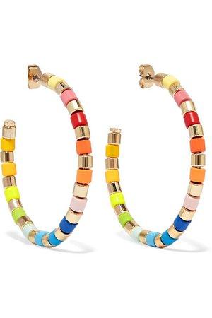 Roxanne Assoulin | U-Tube gold-tone and enamel hoop earrings | NET-A-PORTER.COM