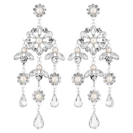 Jon Richard Silver Plated Diamante And Pearl Floral Chandelier Drop Earring