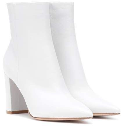 white pointed ankle heel boots