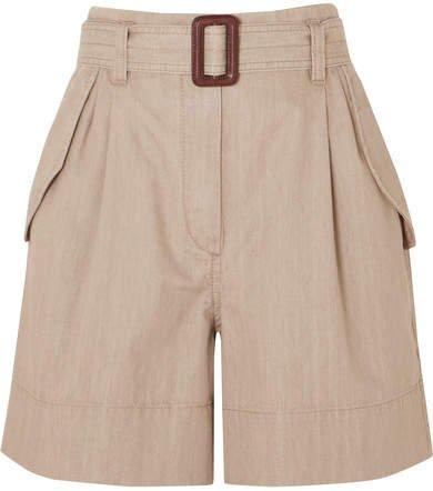 Belted Cotton Shorts - Beige