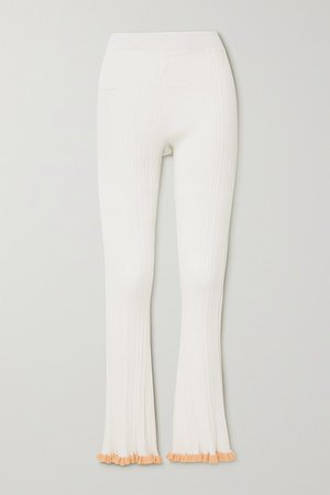 Dahlia Ruffled Ribbed-knit Flared Pants - Ecru