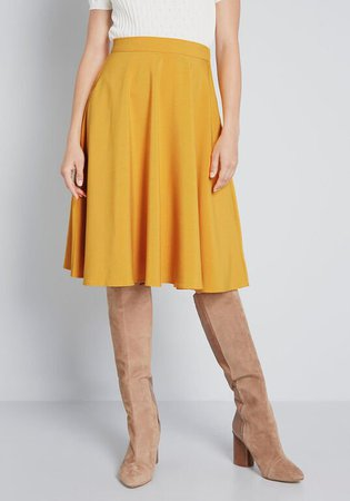 ModCloth Just This Sway A-Line Skirt Mustard | ModCloth