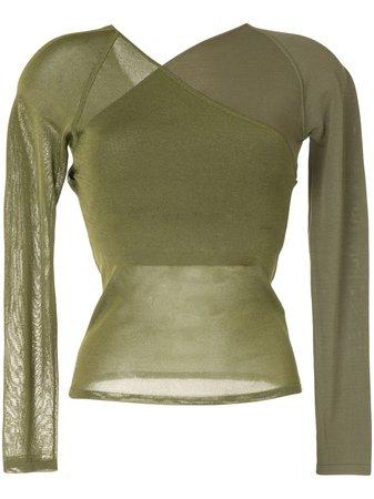 Dion Lee semi-sheer wrap top green A7416R21 - Farfetch
