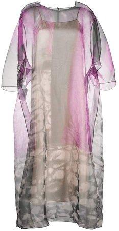 Sheer Patterned Midi Dress