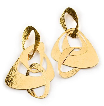 Large Gold Drop Earrings by Herve Van Der Staeten
