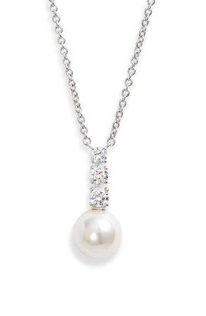 Nadri Camila Cubic Zirconia and Imitation Pearl Pendant Necklace | Nordstrom