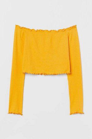 Off-the-shoulder Top - Yellow