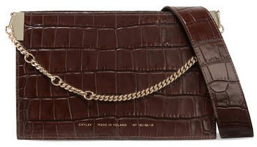 Chylak - Glossed Croc-effect Leather Shoulder Bag - Dark brown