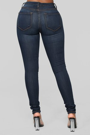 Classic Mid Rise Skinny Jeans - Dark Denim