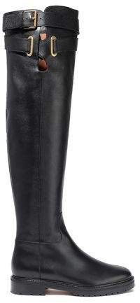 Garavani Buckle-detailed Textured-leather Over-the-knee Boots