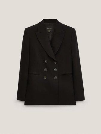 Double-breasted crepe blazer - Women - Massimo Dutti