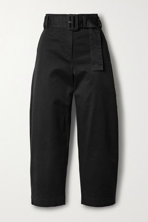 Belted Cropped Cotton-blend Twill Straight-leg Pants - Black