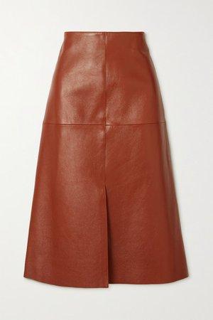 Sidena Leather Midi Skirt - Brown